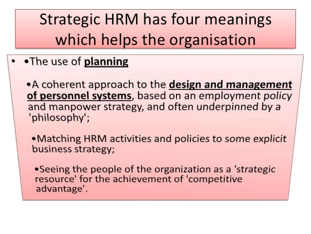 strategic human resource management shrm in the recession Need basic information about human resources' strategic planning and management as a function or department within an organization what are the appropriate goals, organization, and initiatives for a human resources department.