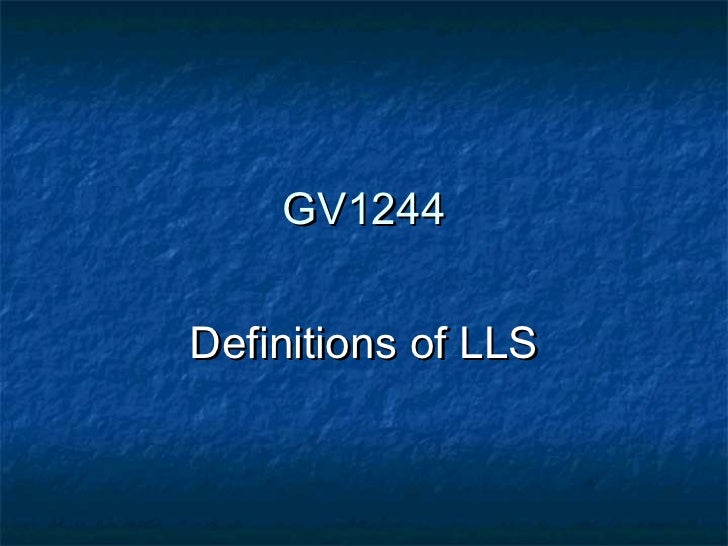 GV1244Definitions of LLS