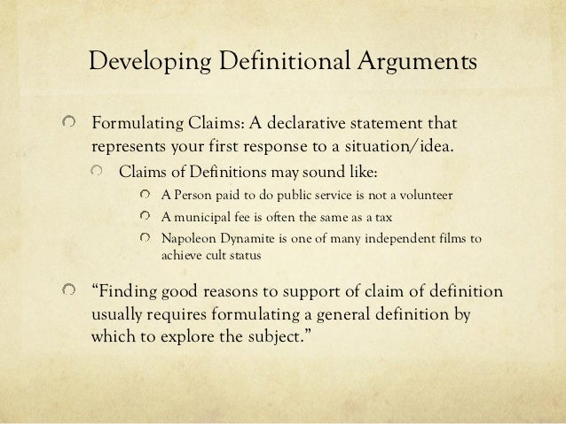 arguing for a definition essay presentation 7