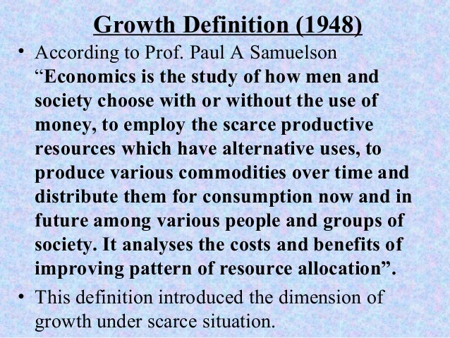 growth definition of economics by paul samuelson