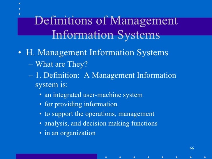 Definitions of management information systems