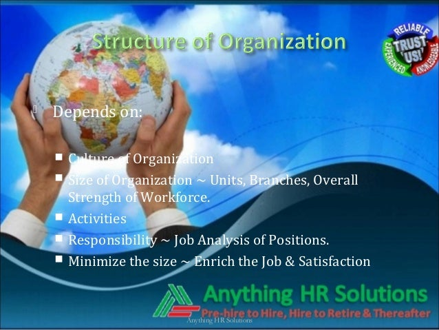  Depends on: Culture of Organization Size of Organization ~ Units, Branches, OverallStrength of Workforce. Activities...