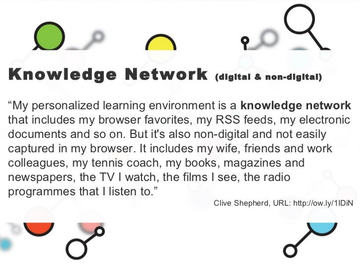 """Knowledge Network  (digital & non-digital) """" My personalized learning environment is a  knowledge network  that includes m..."""