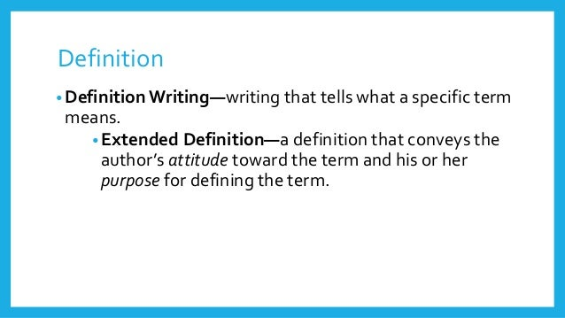 what is an extended definition essay In a definition essay, you explain the meaning of a certain term by giving a detailed description of it, and support your definition with clear examples or facts such explanations are needed if a term is special, abstract, disputed, or does not have a common meaning.