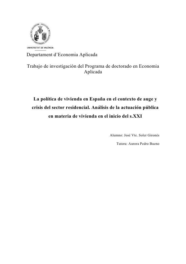 Departament d'Economia AplicadaTrabajo de investigación del Programa de doctorado en Economia                            A...