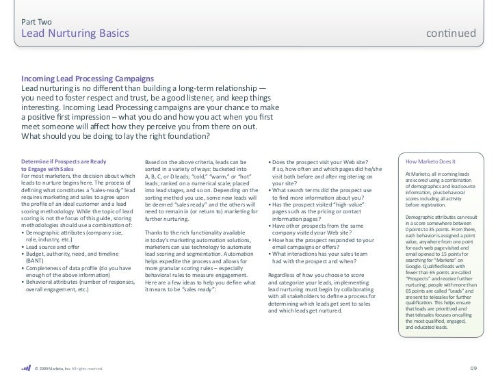 Part Two Lead Nurturing BasicsIncoming Lead Processing campaigns are         further, many experts recommend ...