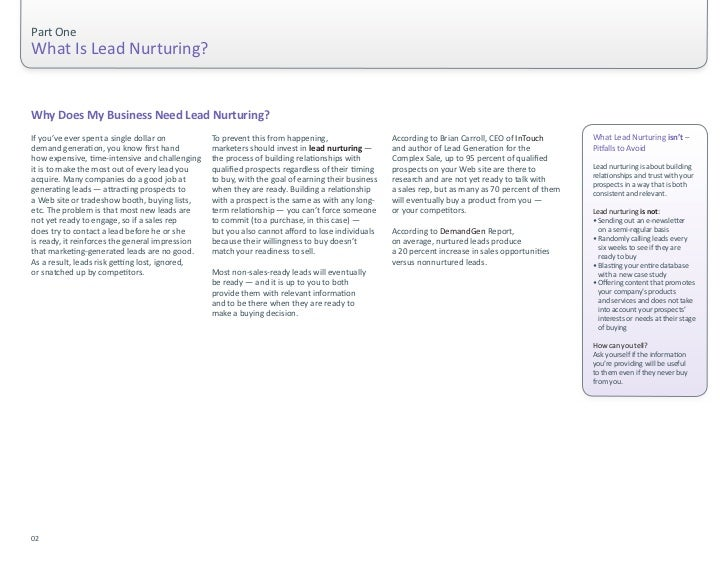Part One                                        What Is Lead Nurturing?on the Web doing independent research, ...