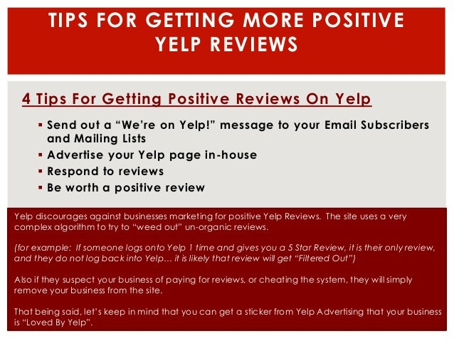 review instructions for yelp We look at the latest data on how patients use online reviews, and look at reputation management software solutions made for doctors  instructions and links to .