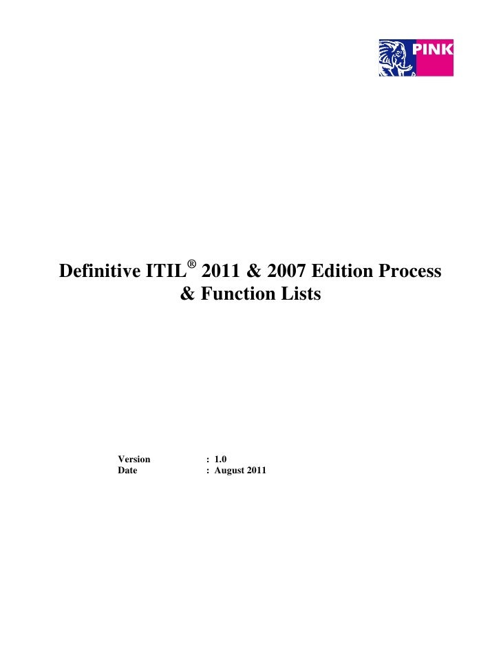 Definitive Itil 2011 2007 Edition Process Function Lists