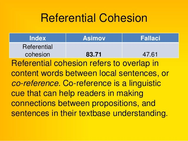 referential cohesion
