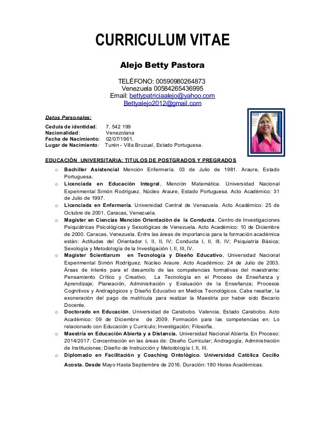 Hoja de vida Betty Alejo