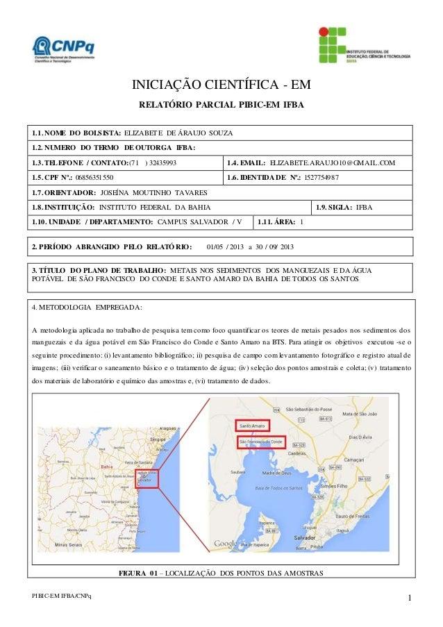PIBIC-EM IFBA/CNPq 1 INICIAÇÃO CIENTÍFICA - EM RELATÓRIO PARCIAL PIBIC-EM IFBA 1.1. NOME DO BOLSISTA: ELIZABETE DE ÁRAUJO ...