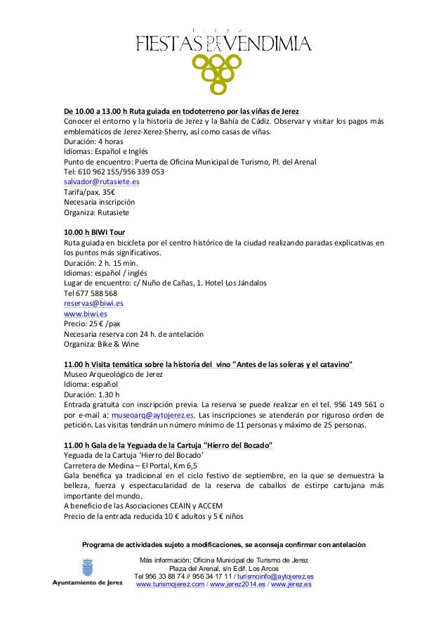 Programa fiestas de la vendimia 2015 for Oficina turismo jerez