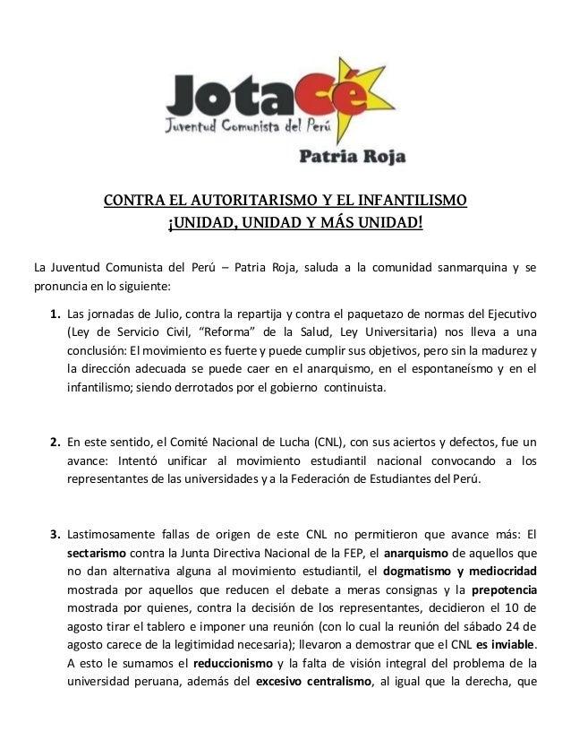 CONTRA EL AUTORITARISMO Y EL INFANTILISMO ¡UNIDAD, UNIDAD Y MÁS UNIDAD! La Juventud Comunista del Perú – Patria Roja, salu...