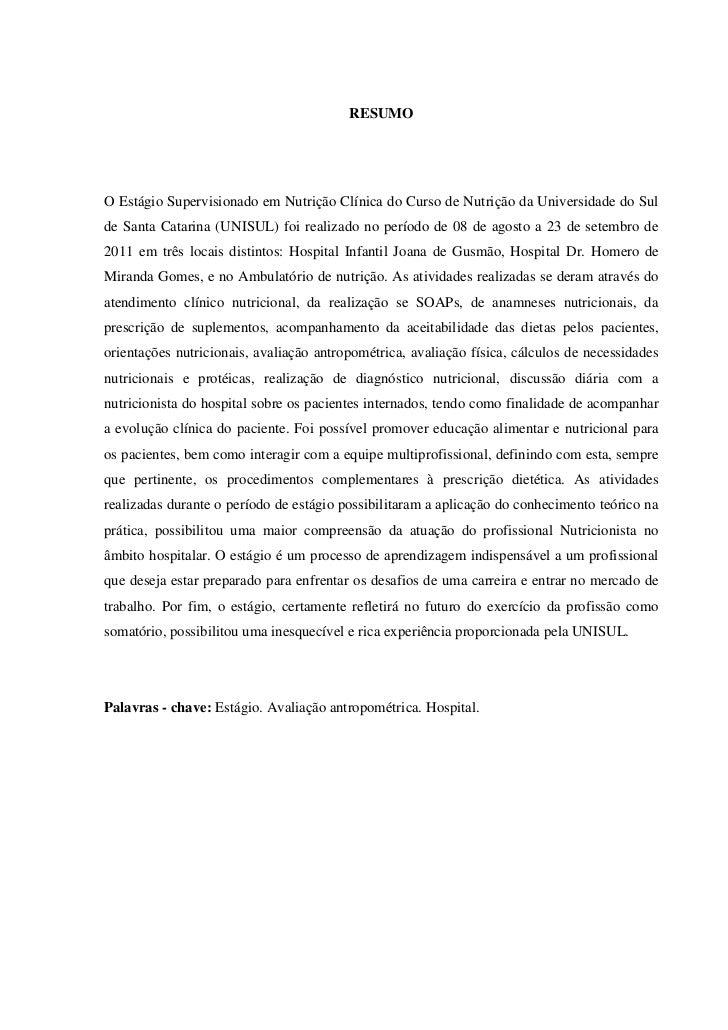 relatório clinica nutrição