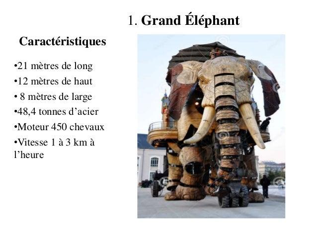 Caractéristiques 1. Grand Éléphant •21 mètres de long •12 mètres de haut • 8 mètres de large •48,4 tonnes d'acier •Moteur ...