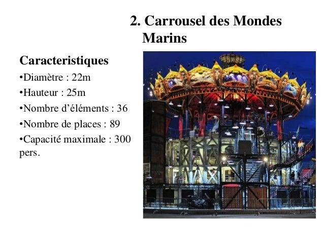 2. Carrousel des Mondes Marins Caracteristiques •Diamètre : 22m •Hauteur : 25m •Nombre d'éléments : 36 •Nombre de places :...