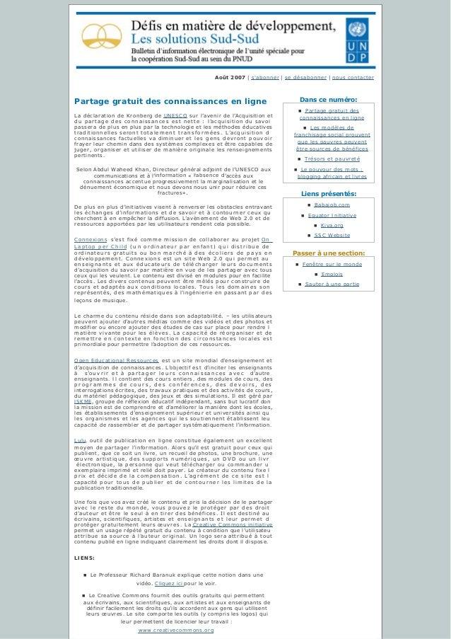Danscenuméro: Liensprésentés: Passeràunesection: Août2007   s'abonner   sedésabonner   nous contacter Partage grat...