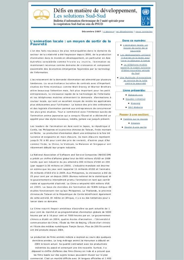 Danscenuméro: Liensprésentés: Passeràunesection: Décembre2007 | s'abonne | sedésabonner | nous contacter L'animati...