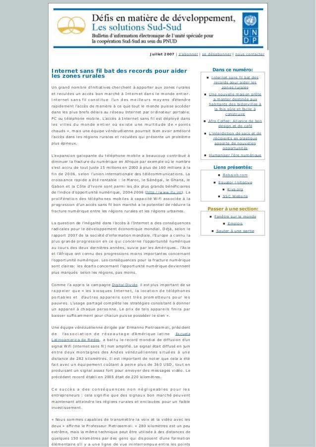 Danscenuméro: Liensprésentés: Passeràunesection: Juillet 2007 | s'abonner | sedésabonner | nous contacter Internet ...