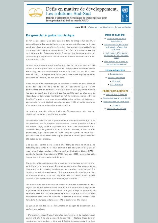 Danscenuméro: Liensprésentés: Passeràunesection: mars 2008 | s'abonner | sedésabonner | nous contacter Deguerrier...