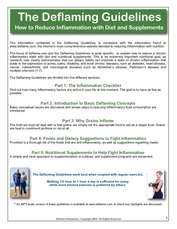 The Deflaming Guidelines   How to Reduce Inflammation with Diet and SupplementsThe information contained in the Deflaming ...