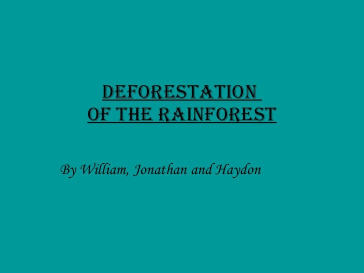 Deforestation  Of The Rainforest By William, Jonathan and Haydon