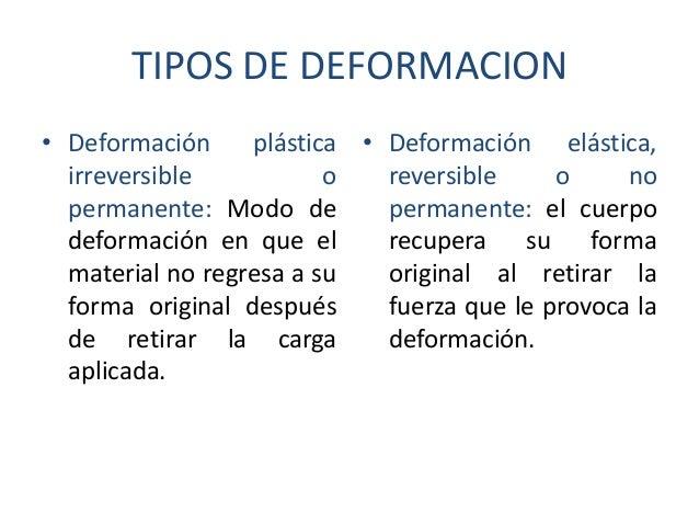 TIPOS DE DEFORMACION • Deformación plástica • Deformación elástica, irreversible o reversible o no permanente: Modo de per...