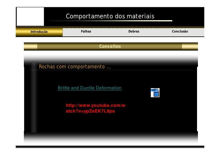 Comportamento dos materiais                          Falhas                 Dobras                     Conclusão Introduçã...