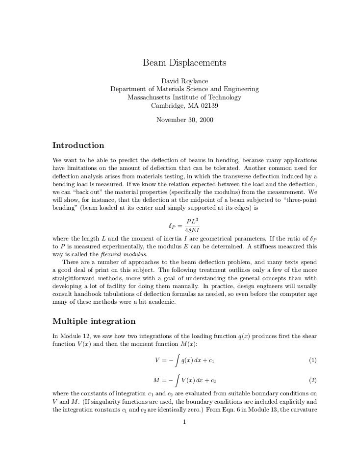 Beam Displacements                                    David Roylance                     Department of Materials Science a...