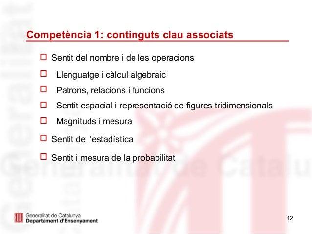 Competència 1: continguts clau associats   Sentit del nombre i de les operacions   Llenguatge i càlcul algebraic   Patr...