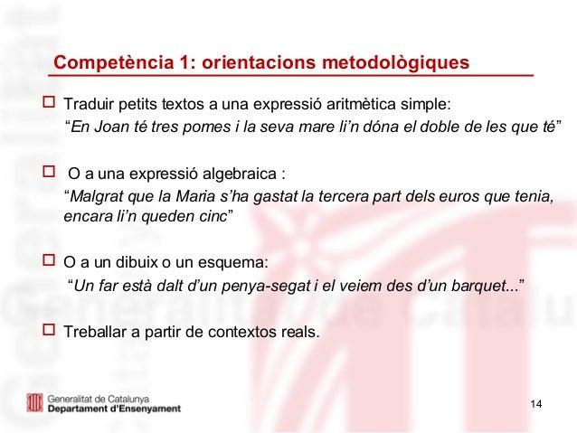 """Competència 1: orientacions metodològiques Traduir petits textos a una expressió aritmètica simple:  """"En Joan té tres pom..."""