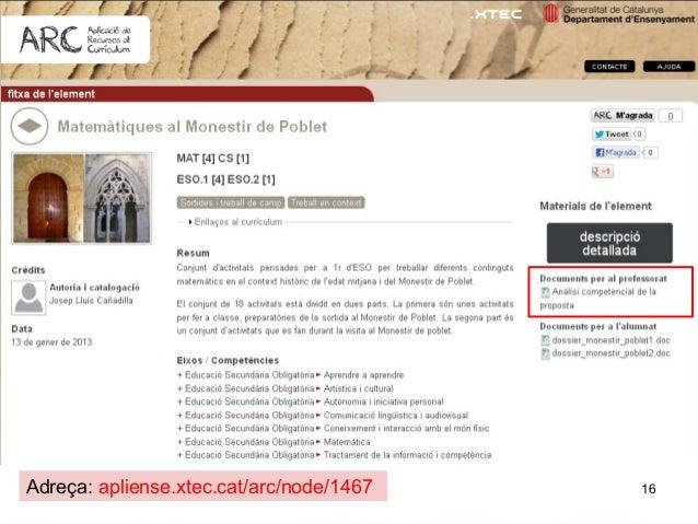 Adreça: apliense.xtec.cat/arc/node/1467   16