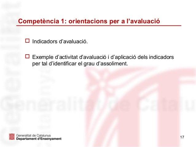 Competència 1: orientacions per a l'avaluació   Indicadors d'avaluació.   Exemple d'activitat d'avaluació i d'aplicació ...