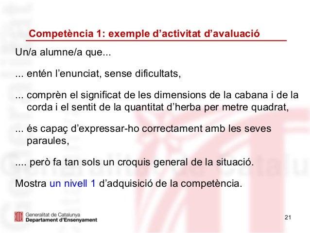 Competència 1: exemple d'activitat d'avaluacióUn/a alumne/a que...... entén l'enunciat, sense dificultats,... comprèn el s...