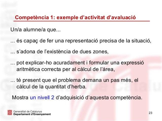 Competència 1: exemple d'activitat d'avaluacióUn/a alumne/a que...... és capaç de fer una representació precisa de la situ...