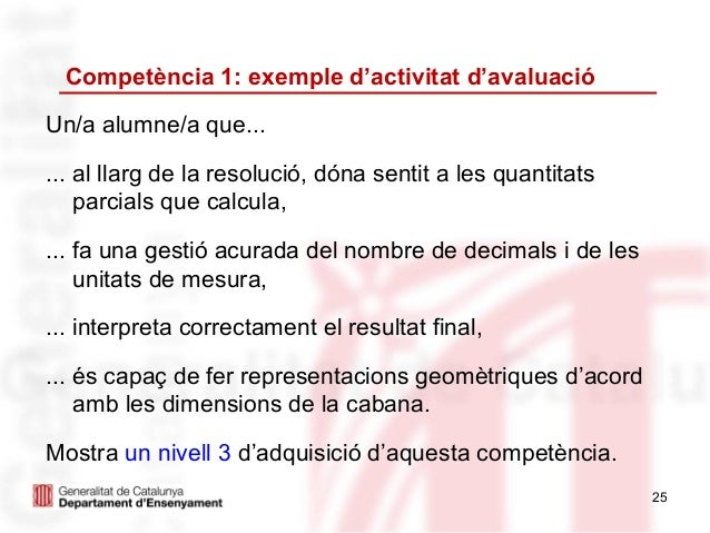 Competència 1: exemple d'activitat d'avaluacióUn/a alumne/a que...... al llarg de la resolució, dóna sentit a les quantita...