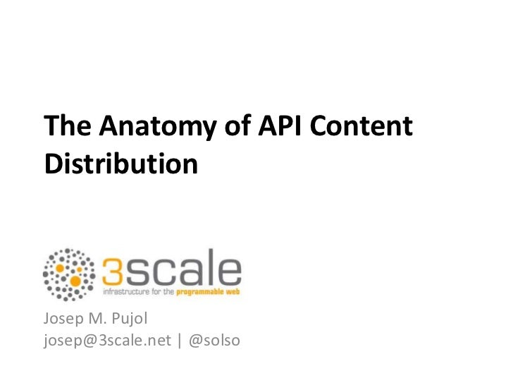 The Anatomy of API ContentDistributionJosep M. Pujoljosep@3scale.net | @solso