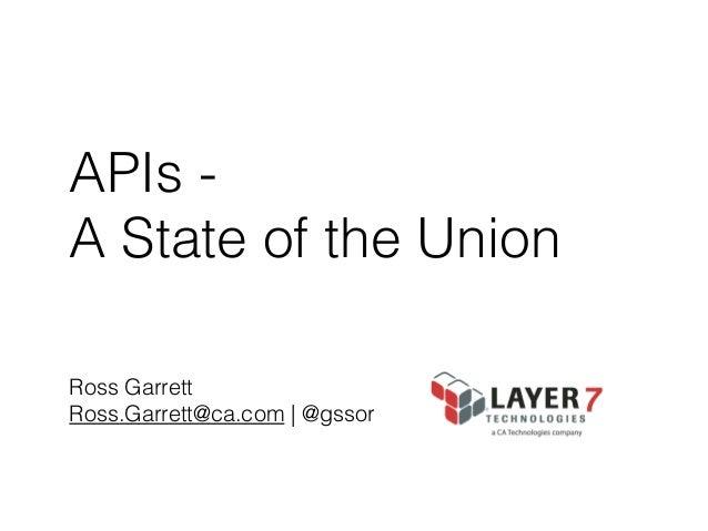 APIs A State of the Union Ross Garrett Ross.Garrett@ca.com   @gssor