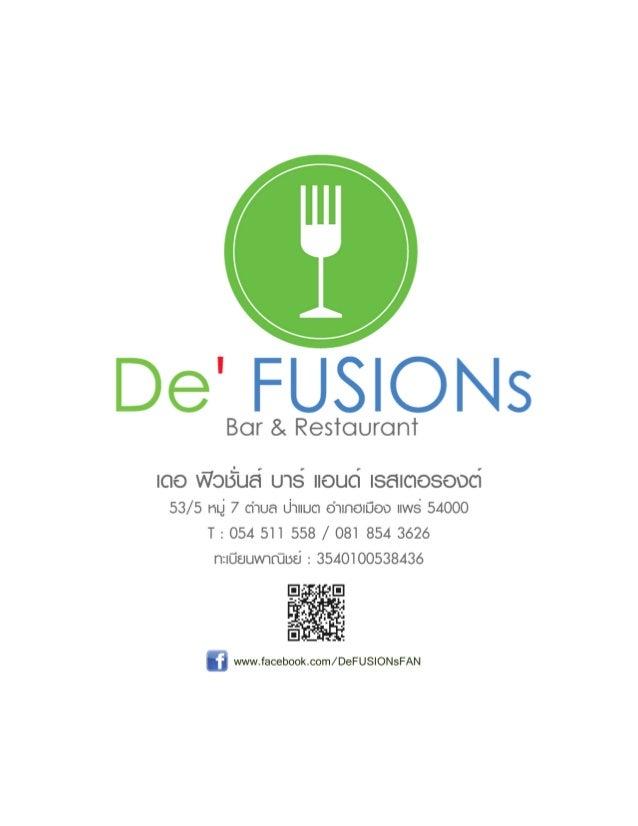 De' FUSIONs Bar & Restaurant - MENU