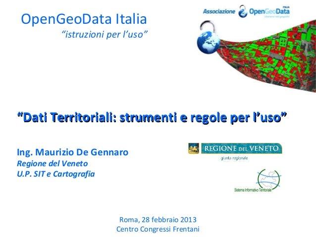 """OpenGeoData Italia            """"istruzioni per l'uso""""""""Dati Territoriali: strumenti e regole per l'uso""""Ing. Maurizio De Genn..."""
