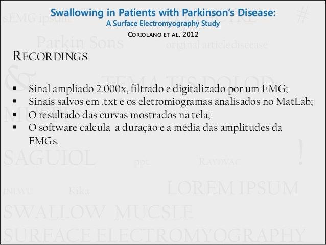 Deglutição em pacientes com Doença de Parkinson