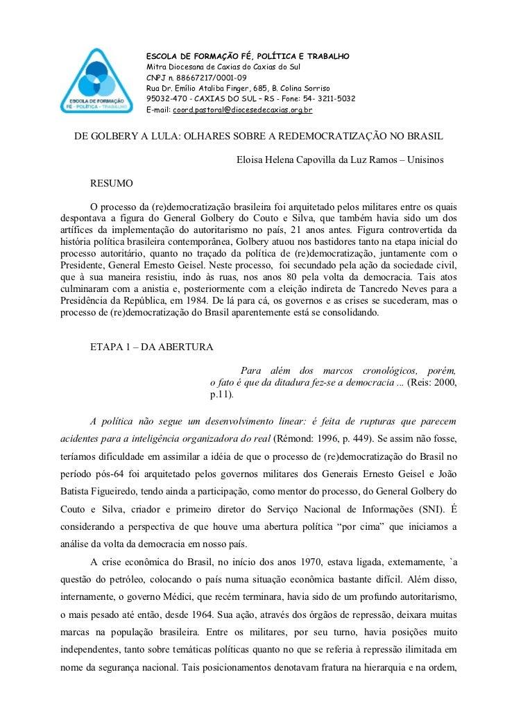 ESCOLA DE FORMAÇÃO FÉ, POLÍTICA E TRABALHO                     Mitra Diocesana de Caxias do Caxias do Sul                 ...