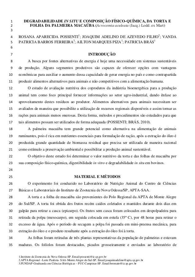 DEGRADABILIDADE IN SITU E COMPOSIÇÃO FÍSICO-QUÍMICA, DA TORTA E1 FOLHA DA PALMEIRA MACAÚBA (Acrocomia aculeata (Jacq.) Lod...