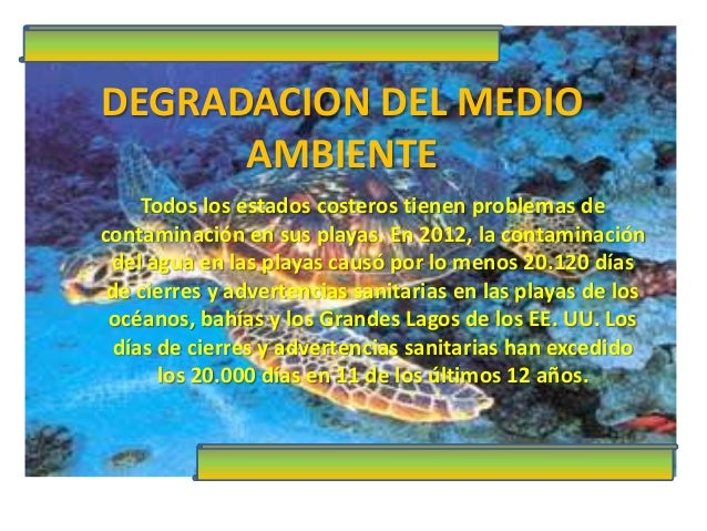 DEGRADACION DEL MEDIO AMBIENTE Todos los estados costeros tienen problemas de contaminación en sus playas. En 2012, la con...