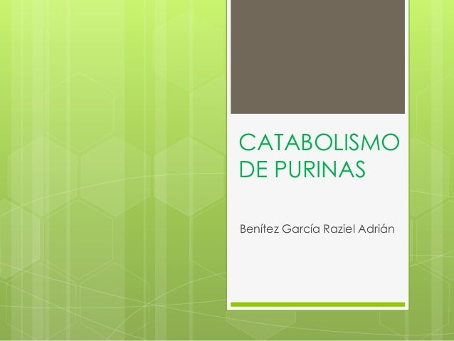 CATABOLISMO DE PURINAS Benítez García Raziel Adrián