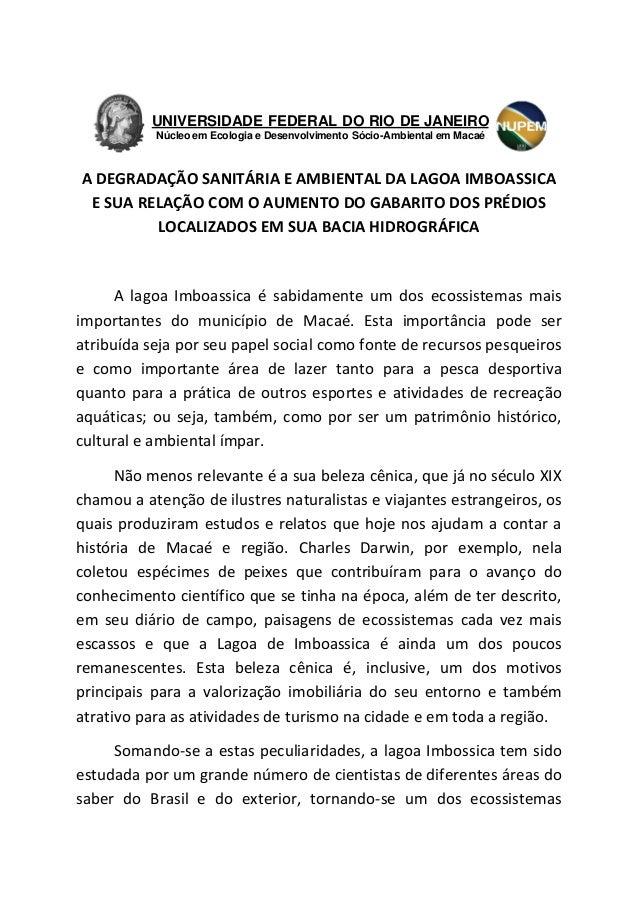 A DEGRADAÇÃO SANITÁRIA E AMBIENTAL DA LAGOA IMBOASSICA E SUA RELAÇÃO COM O AUMENTO DO GABARITO DOS PRÉDIOS LOCALIZADOS EM ...
