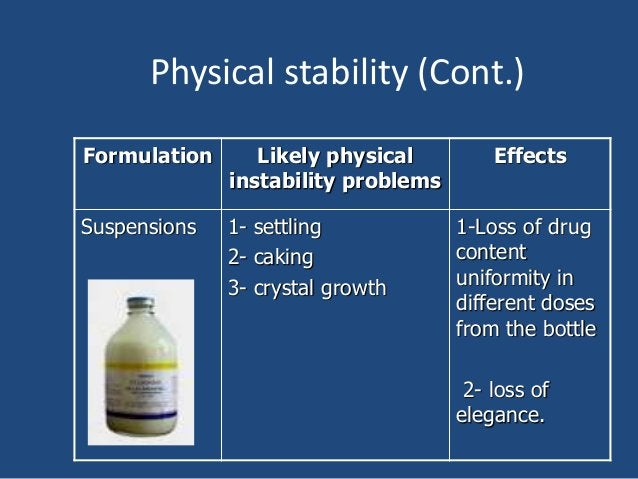 Physical stability (Cont.) Formulation Likely physical instability problems Effects Suspensions 1- settling 2- caking 3- c...