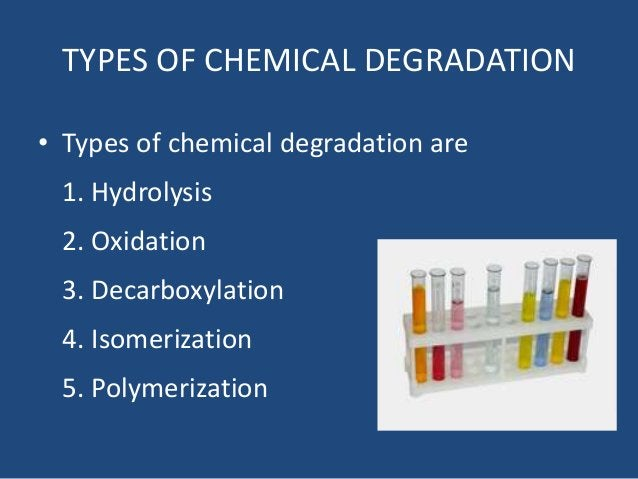 TYPES OF CHEMICAL DEGRADATION • Types of chemical degradation are 1. Hydrolysis 2. Oxidation 3. Decarboxylation 4. Isomeri...