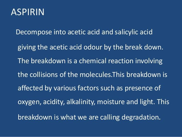 ASPIRIN Decompose into acetic acid and salicylic acid giving the acetic acid odour by the break down. The breakdown is a c...